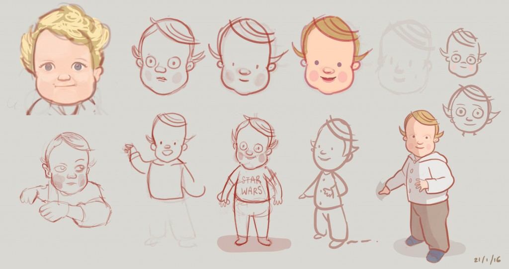 First attempts at sketching/caricaturing our 2yr old son...